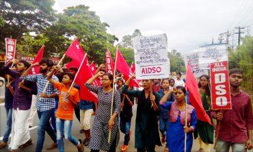 വിദ്യാർത്ഥി രാഷ്ട്രീയ നിരോധനം: എഐഡിഎസ്ഒ പ്രതിഷേധിച്ചു